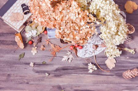dried flower arrangement: Vintage decorative composition with dry flowers of hydrangea in wooden box on a rustic wooden background, pine  cones, old book, binoculars. Selective focus, toned Stock Photo