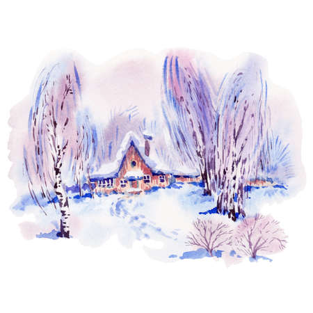 wood frame: Vintage Christmas watercolor greeting card with cozy countryside winter landscape. Fairytale forest winter watercolor illustration
