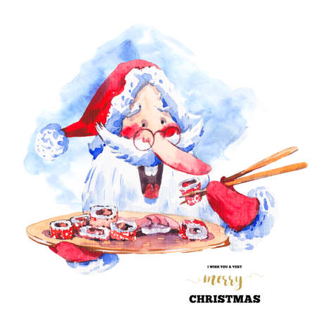 christmas funny: Vintage watercolor funny Santa Claus with sushi and rolls, Fairytale winter watercolor Christmas illustration, Holiday design elements Stock Photo