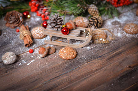 christmas and new year decoration with vintage wooden sled pine branches oatmeal cookies - Wooden Sled Decoration Christmas
