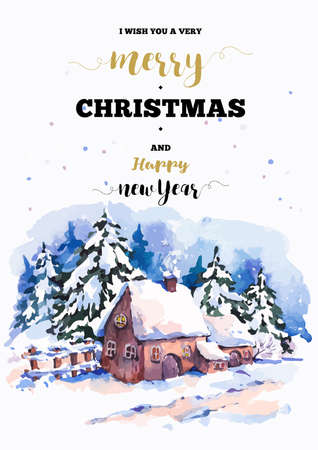 Vintage Christmas vertical frame vector card with cozy countryside winter landscape. Fairytale winter illustration in watercolor style. Vektorové ilustrace