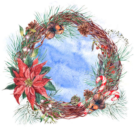pine decoration: Christmas Vintage Floral Wreath, New Year Decoration with Poinsettia, Pine Branches, Nuts, Fir Cones. Botanical Natural Watercolor Round Frame Isolated on White Background Stock Photo