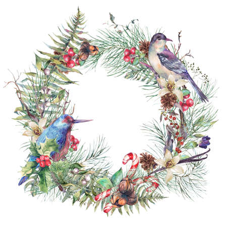 holly day: Christmas Vintage Floral Wreath, New Year Decoration with Birds, Pine Branches, Nuts, Fir Cones. Botanical Natural Watercolor Round Frame Isolated on White Background Stock Photo