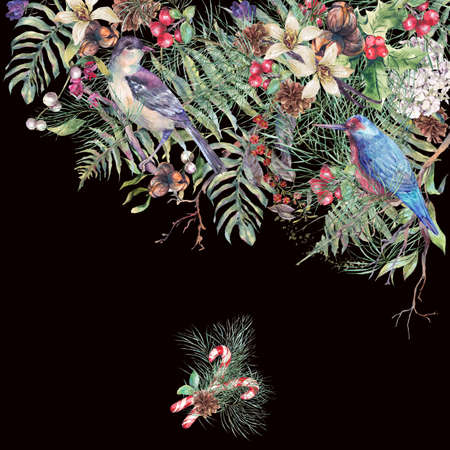 pine decoration: Christmas Vintage Floral Greeting Card, New Year Decoration with Birds, Fern Leaves, Poinsettia, Pine Branches, Nuts, Fir Cones. Botanical Natural Watercolor Illustration Isolated on Black Background