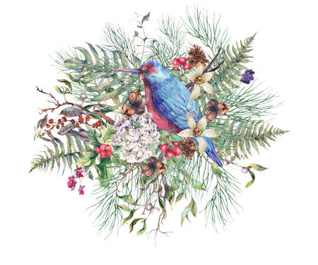 branches with leaves: Christmas Vintage Floral Greeting Card, New Year Decoration with Bird, Fern Leaves, Pine Branches, Nuts, Fir Cones. Botanical Natural Watercolor Illustration Isolated on White Background Stock Photo