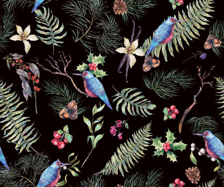 pine decoration: Vintage Floral Seamless Background, New Year Decoration with Birds, Fern Leaves, Pine Branches, Nuts, Fir Cones. Botanical Natural Watercolor Pattern