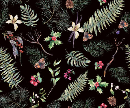 pine decoration: Vintage Floral Seamless Background, New Year Decoration with Fern Leaves, Pine Branches, Nuts, Fir Cones. Botanical Natural Watercolor Pattern Stock Photo