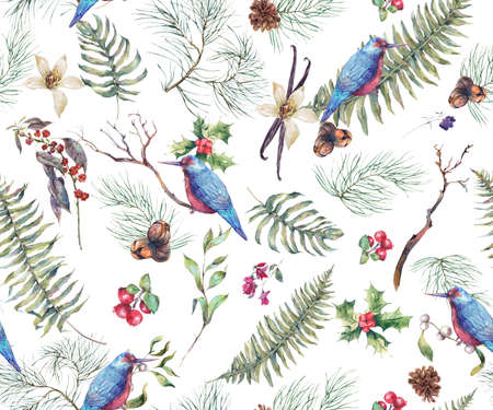 botanical illustration: Vintage Floral Seamless Background, New Year Decoration with Birds, Fern Leaves, Pine Branches, Nuts, Fir Cones. Botanical Natural Watercolor Pattern