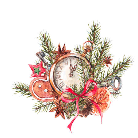 pocket: Watercolor Christmas illustration with gingerbread cookies, fir branches and old vintage pocket watch, New Year decoration, Holiday design elements, Greeting isolated festive New Year card