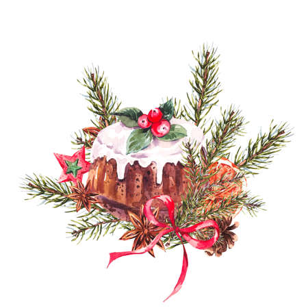 christmas pudding: Watercolor Christmas illustration with traditional pudding, fir branches and orange slices, New Year decoration, Holiday design elements, Greeting isolated festive New Year card Stock Photo