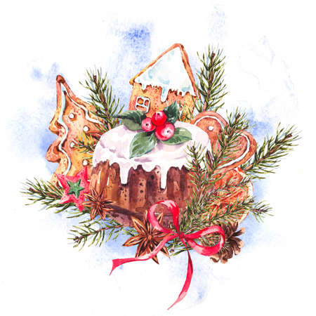 christmas pudding: Watercolor Christmas illustration with traditional pudding, gingerbread cookies, fir branches and orange slices, New Year decoration, Holiday design elements, Greeting isolated festive New Year card