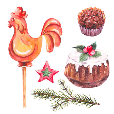christmas pudding: Watercolor sweet Christmas collection of chocolate, fir branches, rooster lollipop on stick, traditional pudding, New Year decoration, Holiday design elements, Isolated festive New Year set