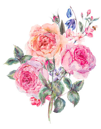 Vintage garden watercolor spring bouquet with pink flowers blooming branches of cherry, peach, pear, sakura, apple trees, english roses and bee, isolated botanical illustration