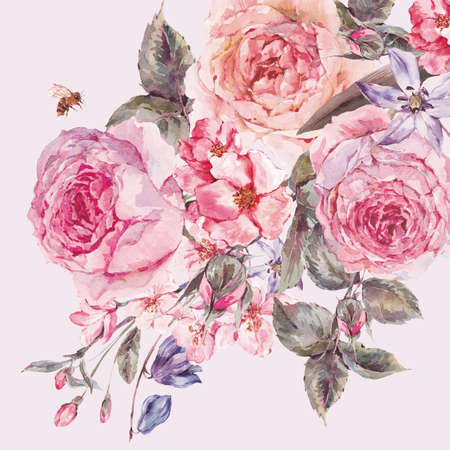 acuarela jardín ramo resorte de la vendimia en mal estado y flores de color rosa en flor ramas de la cereza, melocotón, pera, sakura, manzanos, rosas inglesas y la abeja, aislado ilustración botánica Foto de archivo