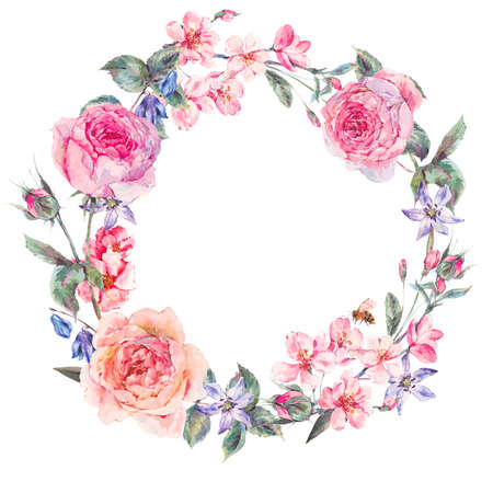 Vintage garden watercolor spring round floral wreath with pink flowers blooming branches of cherry, peach, pear, sakura, apple trees, english roses and bee, isolated botanical illustration