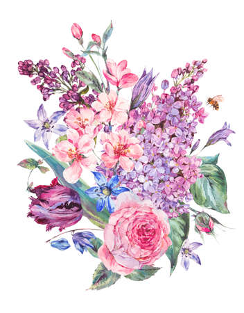 Watercolor spring bouquet with pink flowers lilacs, tulips, rose