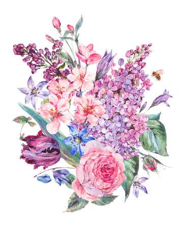 Bouquet printanier aquarelle avec des fleurs roses lilas, tulipes, roses Banque d'images - 69495717