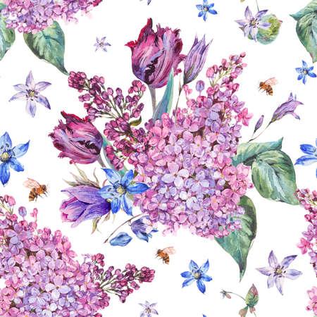 Vintage jardín acuarela púrpura primavera floral sin fisuras backgrou