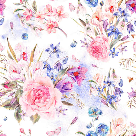 Watercolor spring seamless background with roses