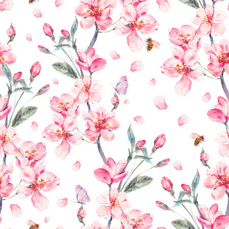 Watercolor spring seamless background with blooming branches 스톡 콘텐츠