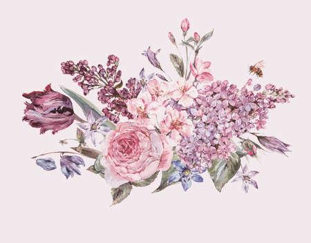 Aquarell Frühjahr Bouquet mit rosa Blüten Flieder, Tulpen, Rosen