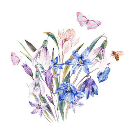 Watercolor spring bouquet with blue wildflowers and snowdrops Stock Photo