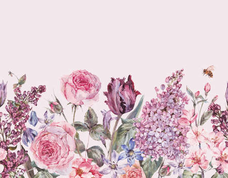 Vintage garden watercolor purple floral spring seamless border 写真素材
