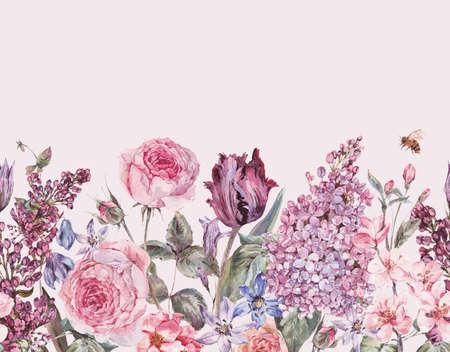Vintage garden watercolor purple floral spring seamless border Foto de archivo