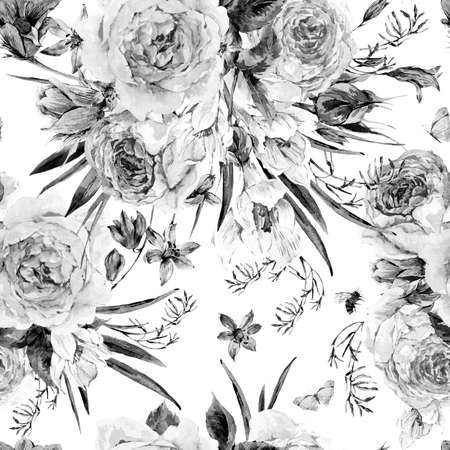 monochrome: Watercolor spring seamless background with roses