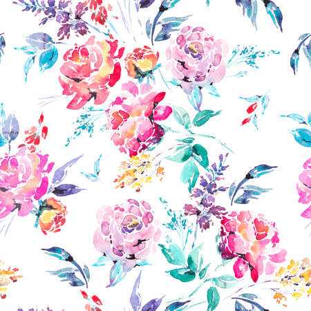 Watercolor floral seamless border with red roses