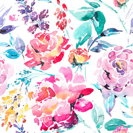 flower patterns: Watercolor floral seamless border with red roses