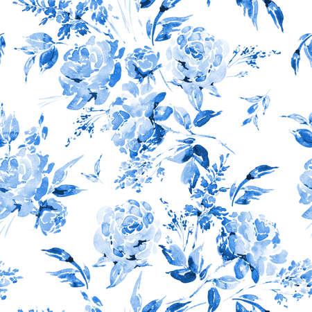 flores chinas: Acuarela patrón transparente floral con rosas rojas