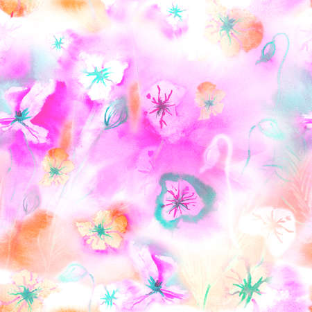water color: Spring seamless pattern with watercolor flowers
