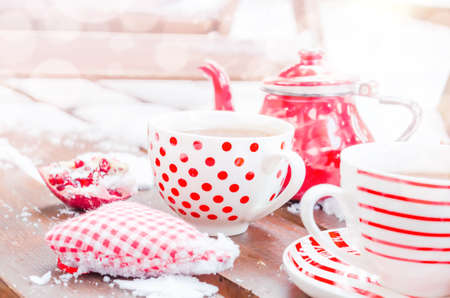 Vintage Heart, Hot Cup of Tea on the Snow, Red Teapot