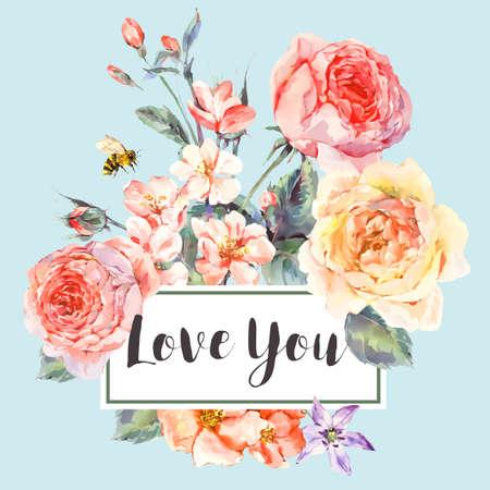 vector de la primavera tarjeta de felicitación floral de la vendimia con el ramo de rosas