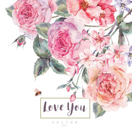 Vector spring vintage floral greeting card with bouquet of roses