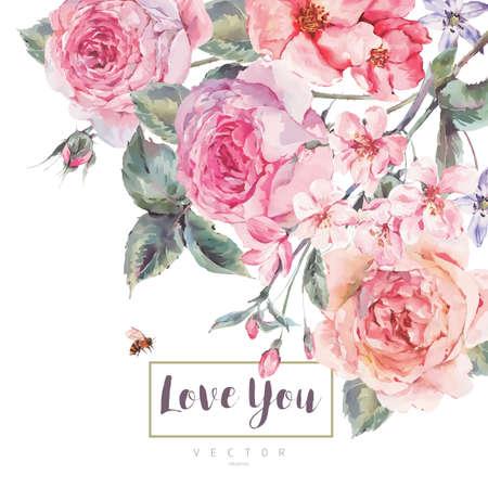 Wektor wiosny rocznika kwiatowy kartkę z życzeniami z bukietem róż
