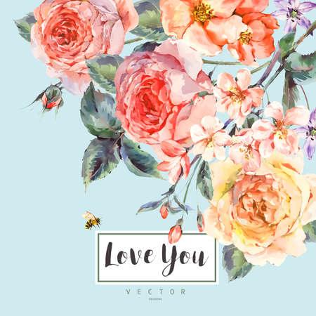 장미 꽃다발 벡터 봄 빈티지 꽃 인사말 카드