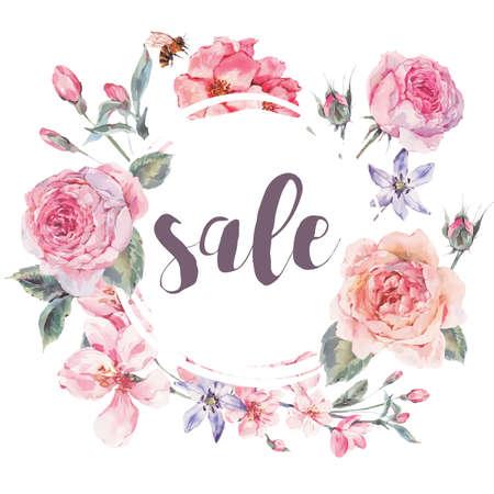 cerezos en flor: Tarjeta de la venta de la vendimia floral vector de la primavera
