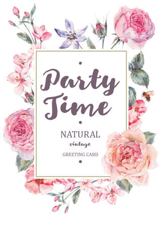 Vertical frame vector card with pink blooming english roses