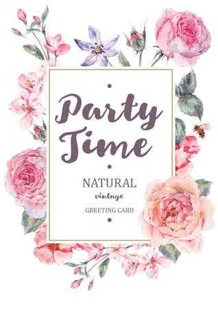 Verticale frame vector kaart met roze bloeiende engels rozen Stockfoto - 69497699