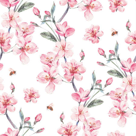 Vintage garden vector spring seamless background