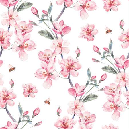 Vintage garden vector spring seamless background