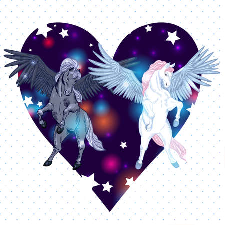 vector illustration with pair winged pegasus Illustration
