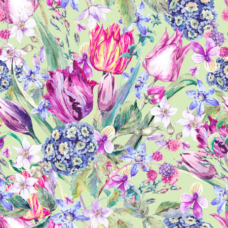 bunch of flowers: Vintage Flowers Watercolor Seamless Pattern, Purple Tulips