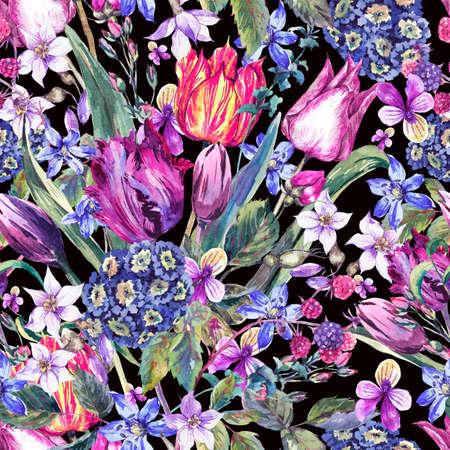 Vintage Flowers Watercolor Seamless Pattern, Purple Tulips