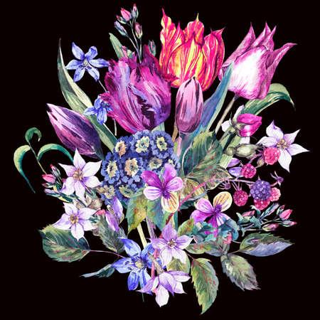 flores moradas: Flores de la vendimia de la acuarela del ramo, tulipanes púrpuras