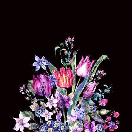 Vintage Flowers Watercolor Bouquet, Purple Tulips