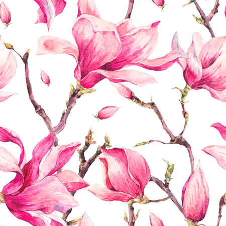 magnolia tree: Watercolor Floral Spring Seamless Pattern with Magnolia