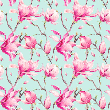 realism: Watercolor Floral Spring Seamless Pattern with Magnolia